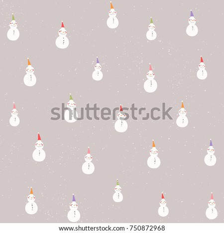 Stock Photo Winter holidays vector seamless pattern with tiny snowmen in colored Christmas hats on light brown background.