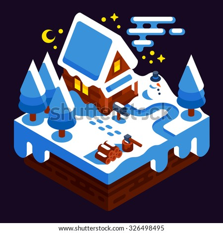 winter house in isometric style