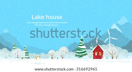 winter  house on the lake in