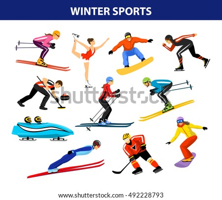 Winter Ice Snow Sports Set including cross country, freestyle skiing, snowboarding, speed skating, sliding, bobsled, ski jumping, curling and figure skating. Male and female sportsman