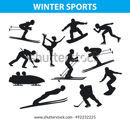 Winter Ice Snow Sports SIlhouettes Set Including Cross Country Freestyle Skiing Snowboarding Speed