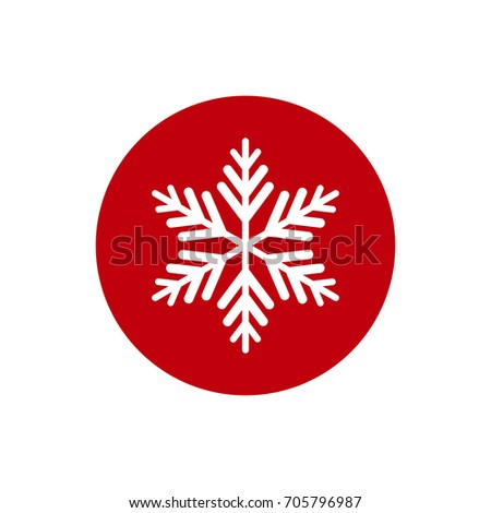 Winter icon with flat white snowflake in red circle. New Year pictogram. Vector illustration. Christmas clip art. Web button. Christmas label.