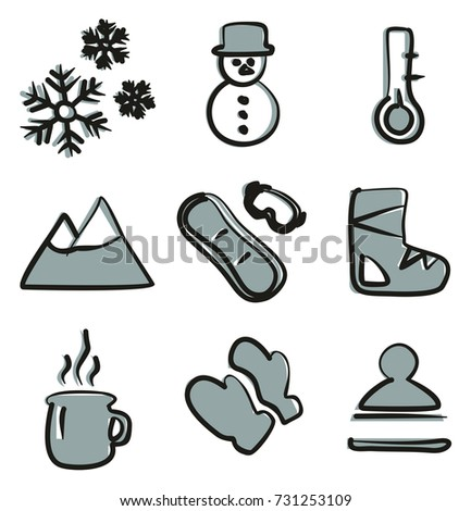 winter icons freehand 2 color