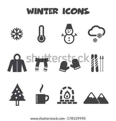 winter icons mono vector symbols
