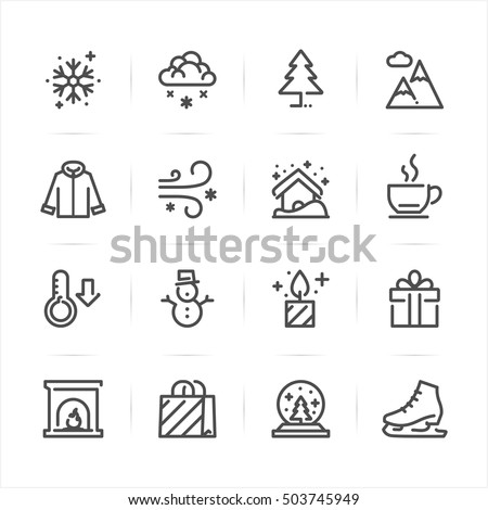 Winter icons with White Background