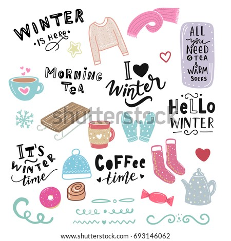 winter illustration and hand