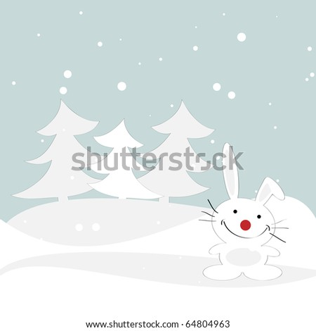 Winter illustration with a rabbit. Vector.