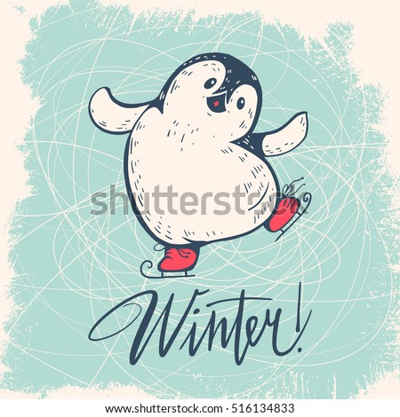 winter illustration with funny
