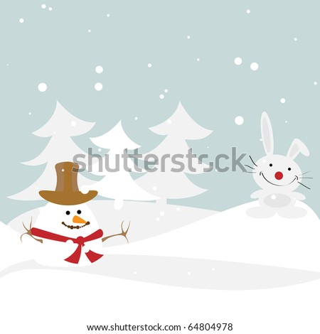Winter illustration with the snowman and a rabbit. Vector.