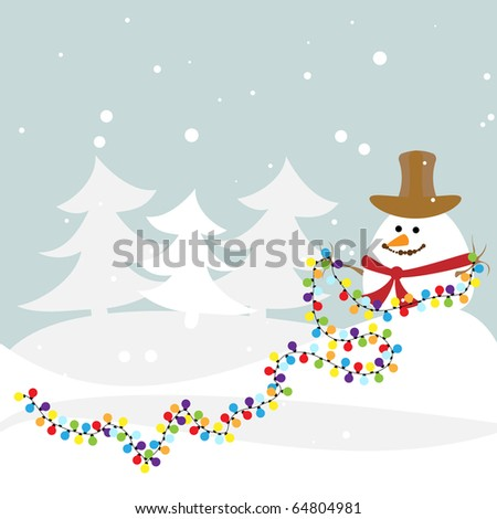 Winter illustration with the snowman. Vector.