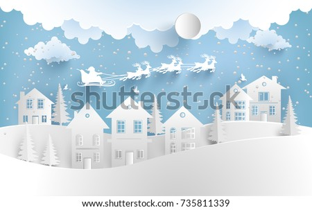 winter illustrations. Santa Clause flies with his rush through housing and snowy hills. paper art design
