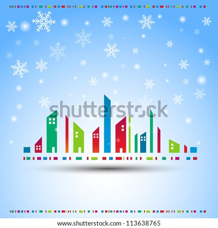 winter in a city vector