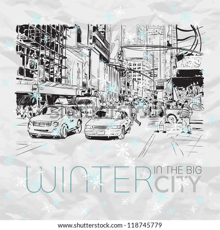 winter in the big city vector