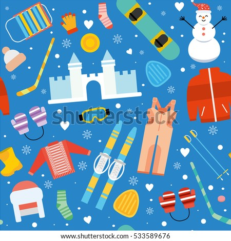 winter kids activity seamless