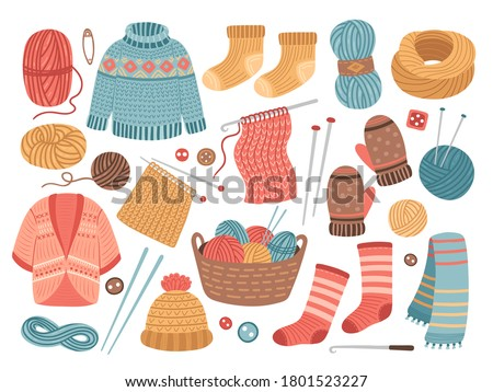 Winter knit clothes. Knitting hobby, wool cloth cardigan sweater. Cute knitted scarf, isolated warm crochet hat jacket vector illustration