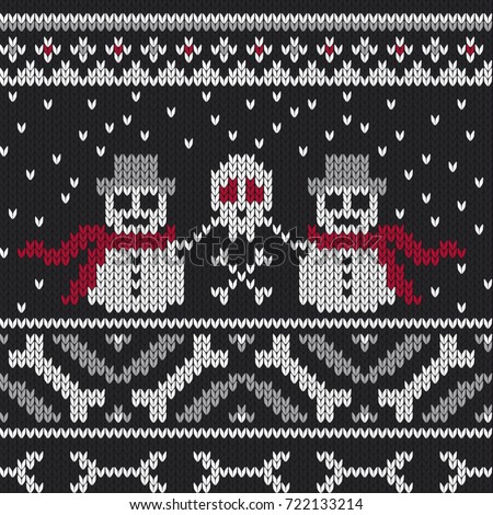 Winter knitted sweater design with bones and snowflakes. creepy snowmen with hat and scarf holding a skull. Seamless pattern, knitted look.