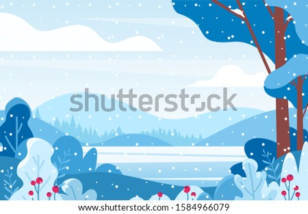 winter lake scenery flat vector