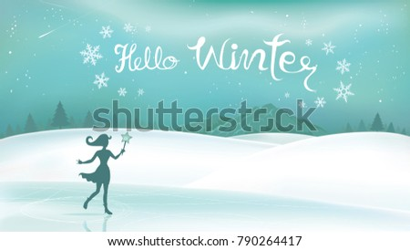 Winter Landscape And Fairy Magical With Lettering Hello Winter. Background  With Snowflakes And Mountains.