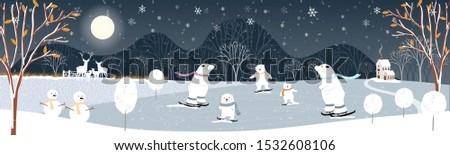 Winter landscape at night, Vector illustration of winter wonderland in village, snow falling in farm land with snow man and cute polar bear playing ice skates, Merry Christmas
