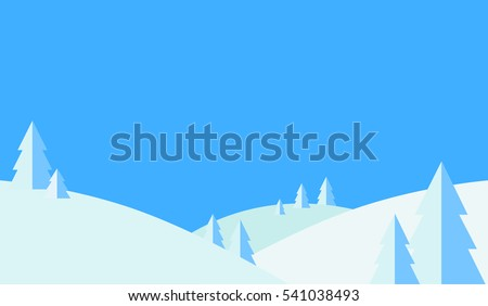 Winter landscape background. Blue and white colors. Panoramic view: Forest, Mountain, Hill, Snow, Tree. Horizontal banner. Christmas card. Flat Cartoon minimalist design. Vector illustration #541038493