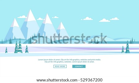 Winter landscape background. Vector illustration.