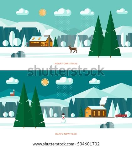 winter landscape banners snowy