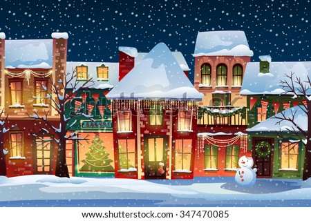 Winter landscape.Christmas background with fairy tale houses. \ Snowy town at holiday eve.Vector illustration.