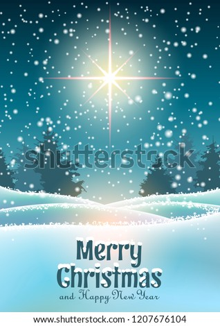 stock-vector-winter-landscape-forest-in-dark-with-big-shinny-star-and-text-merry-christmas-christmas-motive
