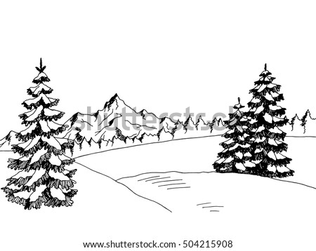 winter landscape graphic art