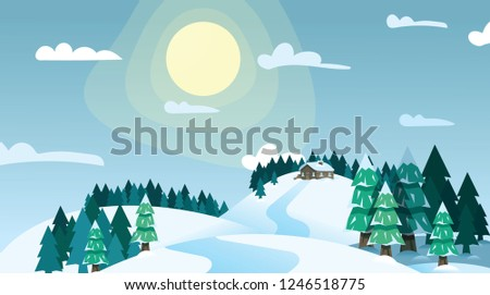 winter landscape house on snowy