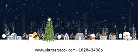 Winter landscape in city at night with snow falling on Christmas eve. vector illustration cartoon Winter wonderland in the town for Happy New year or Merry Christmas greeting card, flyer and banner