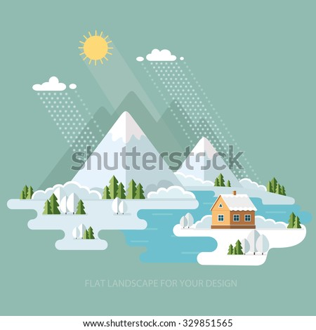 winter landscape mountains snow
