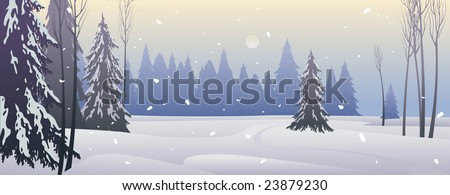 winter landscape of vector