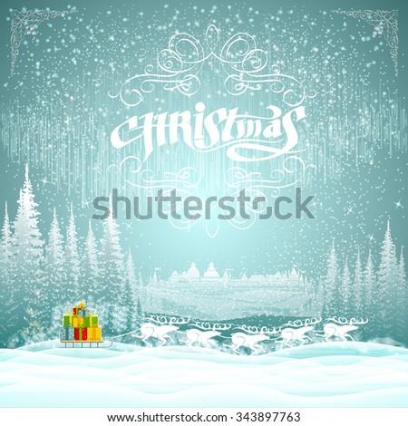 winter landscape on christmas