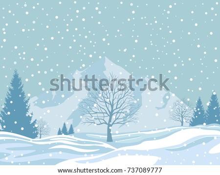 winter landscape on snowy