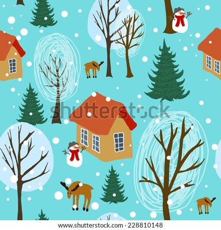Winter landscape seamless pattern