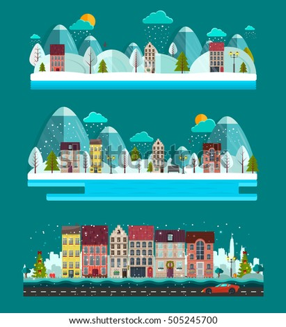 Winter landscape. Set of Landscapes with nature and houses. Cute town with white trees, cute houses, sun, mountains, fir-trees. Vector illustration, EPS 10. Winter is coming.