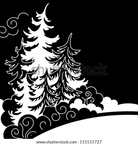 Winter landscape. Silhouettes of firs black and white drawing.