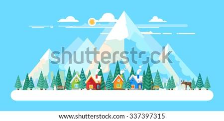 winter landscape the village