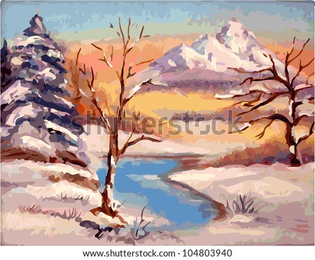 Winter landscape. Vectorization painted with a brush.