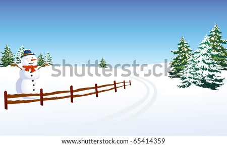 winter landscape with cheerful