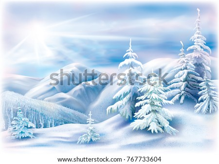 stock-vector-winter-landscape-with-covered-snow-fir-trees-vector-illustration