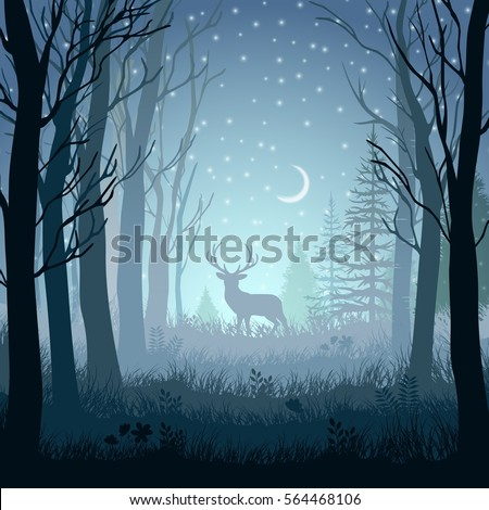 winter landscape with deer in