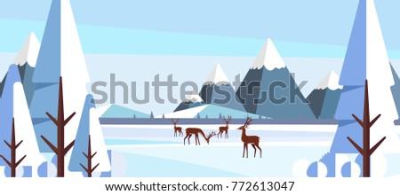Winter Landscape with Deers in Flat Style Illustartion