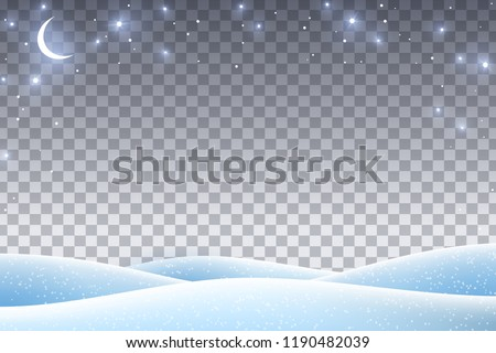 Winter landscape with empty transparent space for 2019 Happy New Year and Merry Christmas Design. Vector illustration. Night sky with stars and crescent, snow drifts.