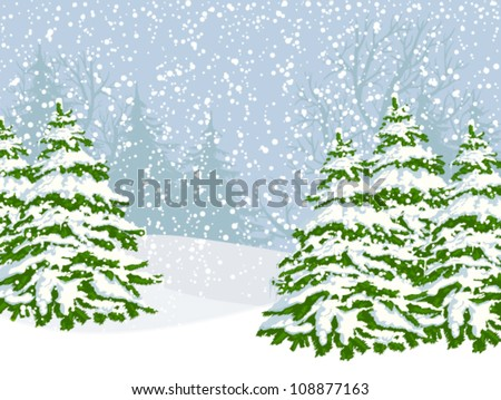 Winter landscape with fir trees and falling snow