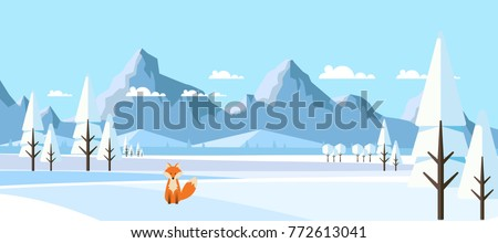 winter landscape with fox in