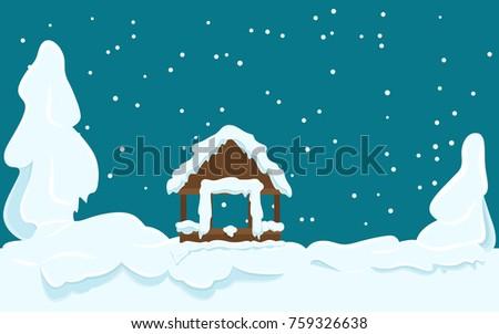 winter landscape with gazebo