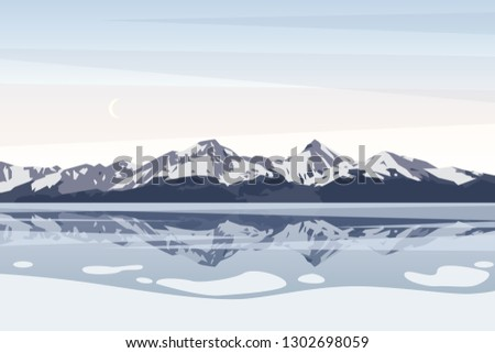 winter landscape with mountains