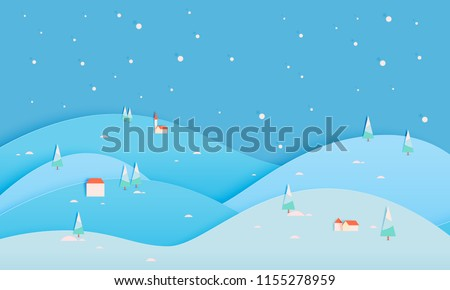 winter landscape with paper art